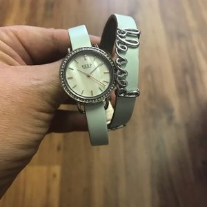 Watch on leather band